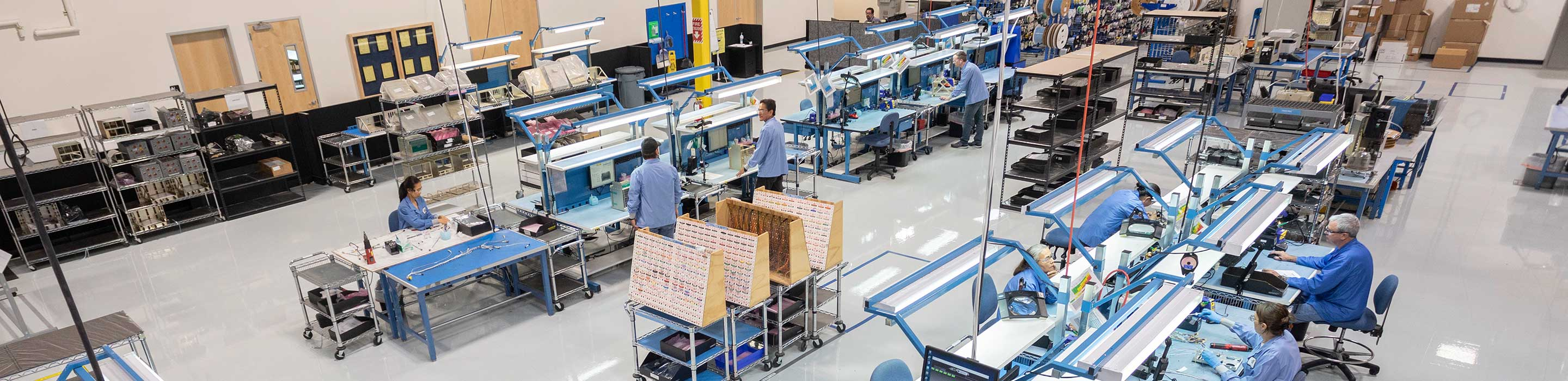 Overhead view of factory floor with people working at desks
